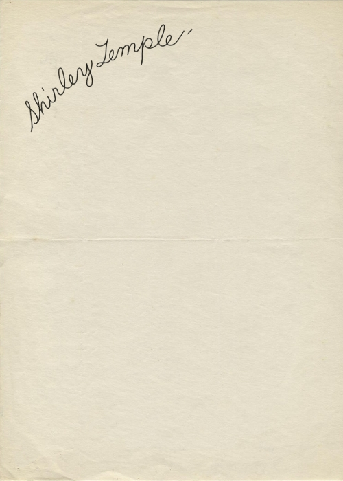 Vintage letterhead from Shirley Temple