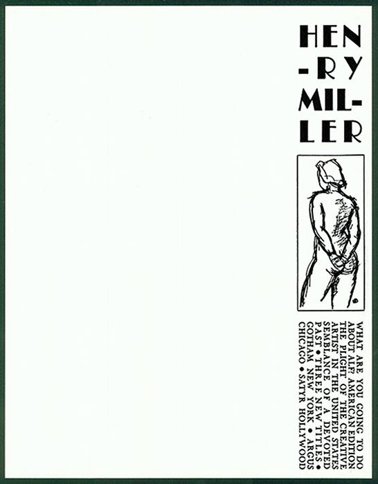 Vintage letterhead from Henry Miller