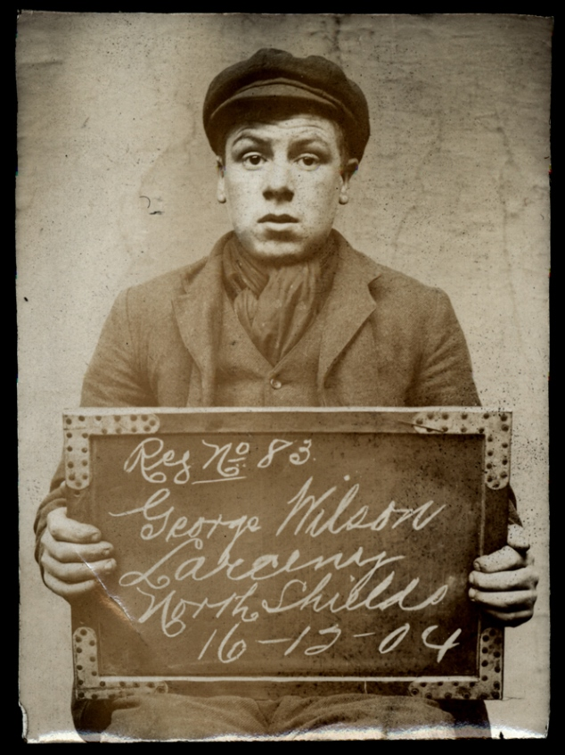George Wilson arrested for larceny  on 16 December 1904  at North Shields Police Station. Photo via Tyne & Wear Archives & Museums.