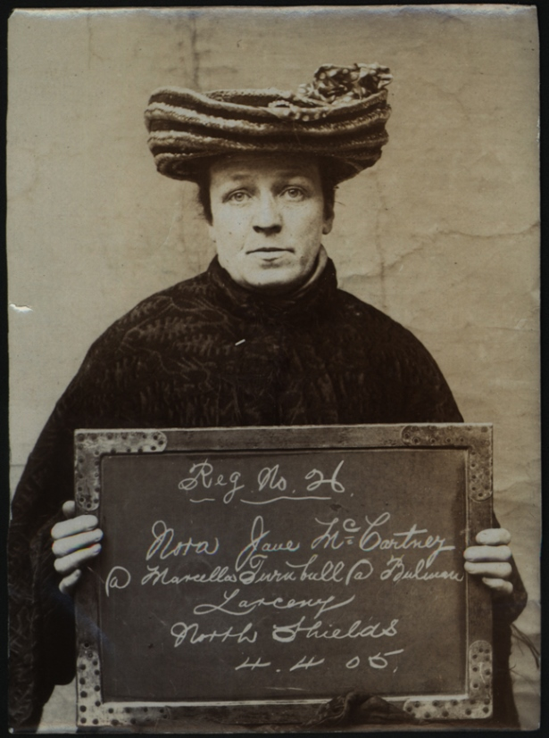 Nora Jane McCartney alias Marcella Turnbull alias Bulman arrested for larceny on 4 April 1905   at North Shields Police Station. Photo via Tyne & Wear Archives & Museums.