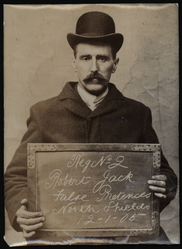 Robert Jack arrested for false pretenses on 12 January 1905 at  North Shields Police Station. Photo via Tyne & Wear Archives & Museums.