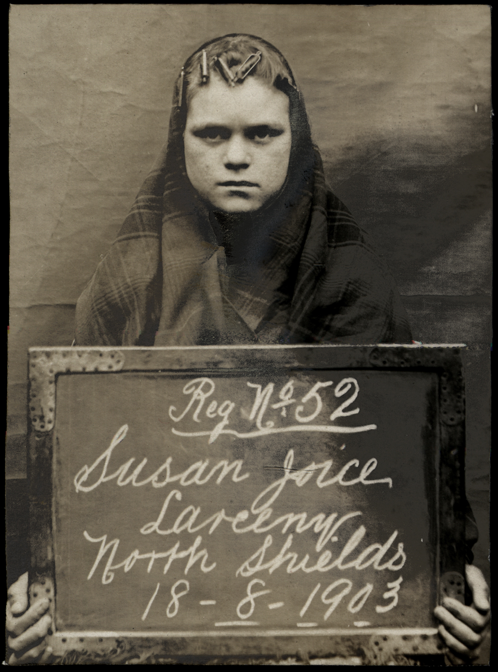 Susan Joice arrested for larceny  on 18th August 1903  arrested at North Shields Police Station. Photo via Tyne & Wear Archives & Museums.