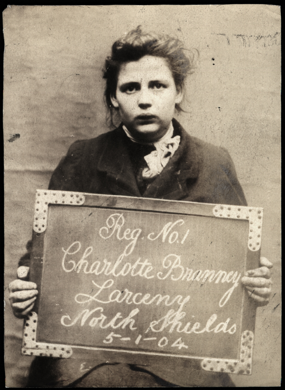 Charlotte Branney arrested for larceny at North Shields Police Station on 5th January 1904. Photo via Tyne & Wear Archives & Museums.
