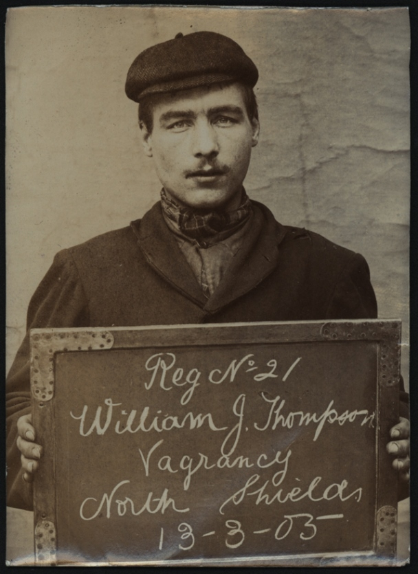 William J Thompson arrested for vagrancy  on   13 March 1905  at North Shields Police Station. Photo via Tyne & Wear Archives & Museums.