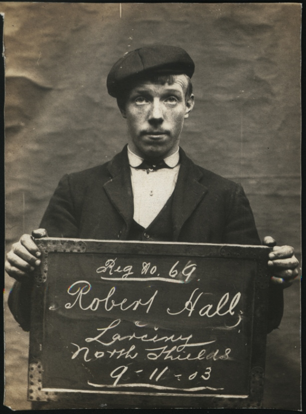 Robert Hall arrested for larceny  on 9 November 1903 at  North Shields Police Station. Photo via Tyne & Wear Archives & Museums.