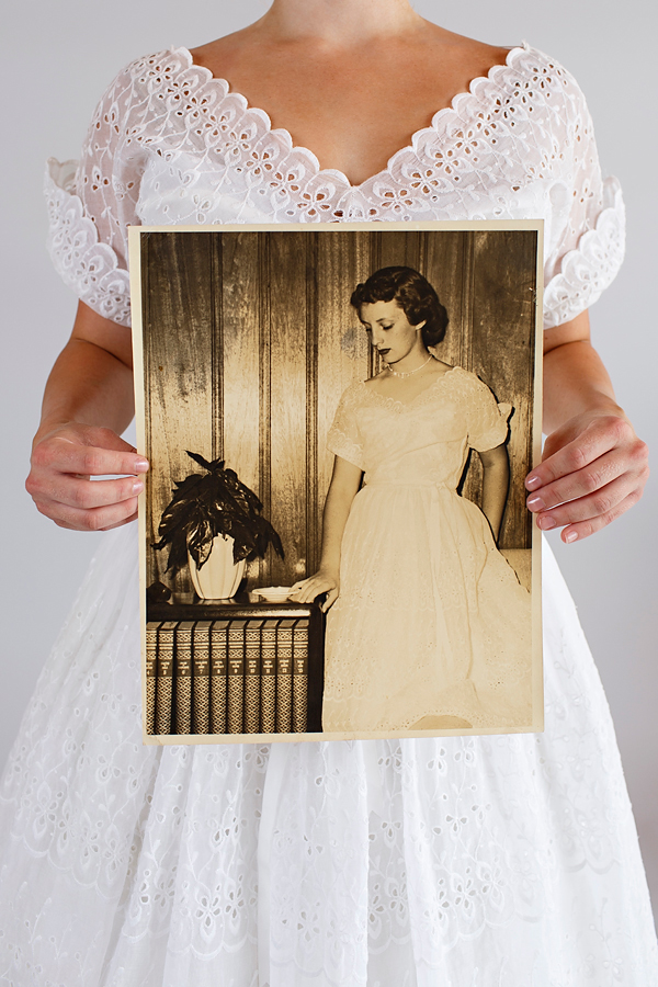 Photo from Beloved Vintage Bridal of the original bride on her wedding day.