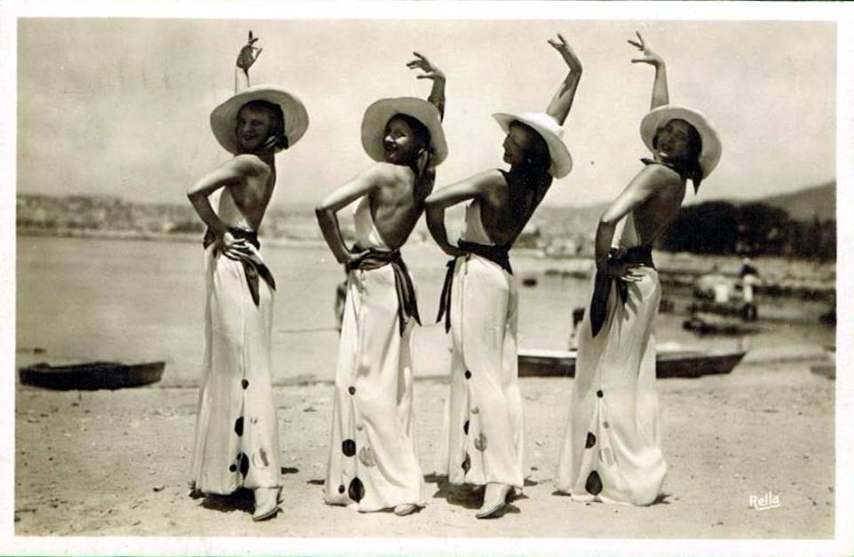 Vintage beach style. Models in Palm Beach wearing beach pajamas, 1930's.