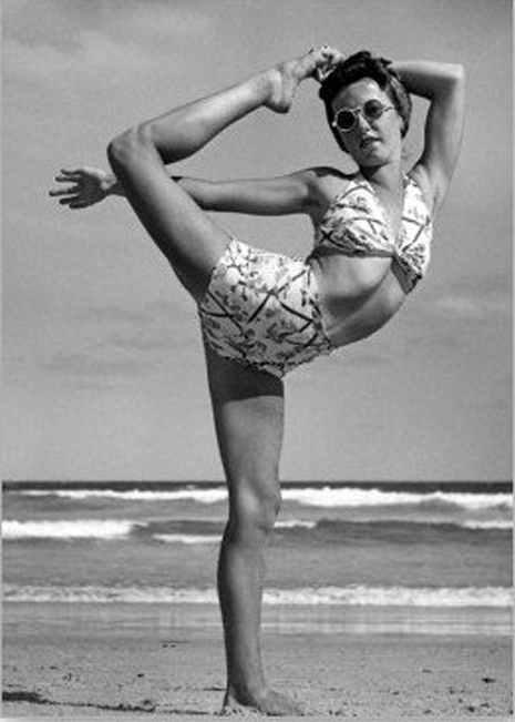 Vintage beach style. Yoga on the beach, 1940s.