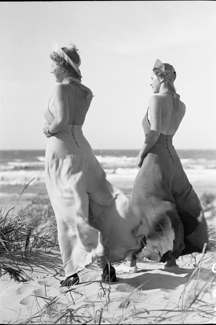 Vintage beach style two women wearing 1930s beach pajamas photo by svennbsp