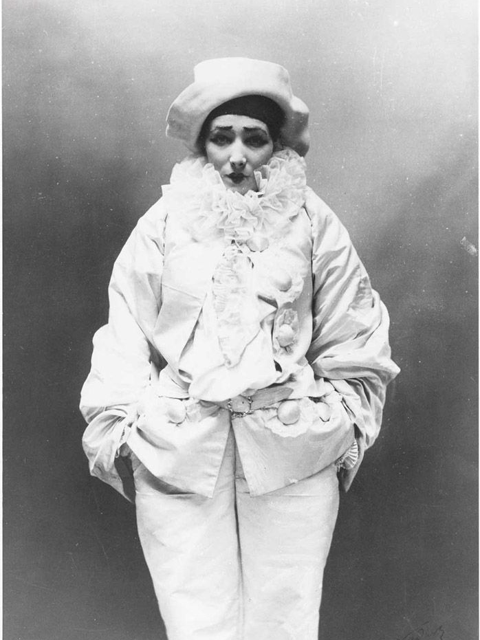 "Sarah Bernhardt in 1883 as Pierrot in Jean Richepin's ""Pierrot the Murderer"""