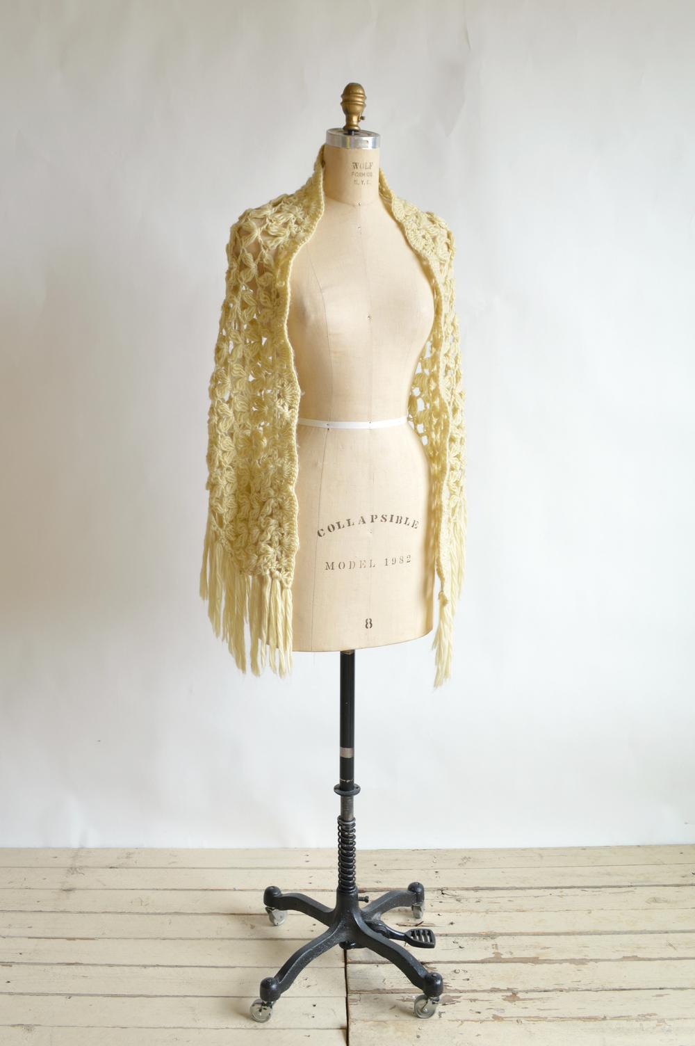 Vintage 1970s crochet shawl