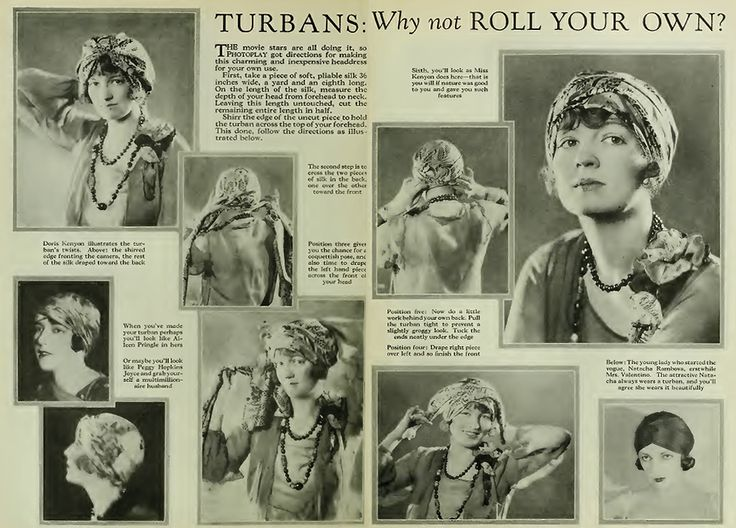 How to Tie a Turban from a 1928 issue of Photoplay. The best 1920s turban DIY around!