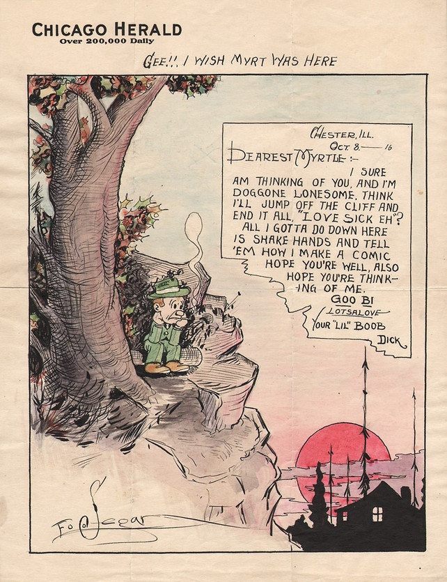 Love letter from the cartoonist who illustrated Popeye to his wife
