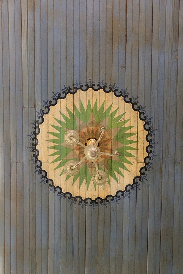 Ceiling detail in Wesley Brethren Church in Wesley, Texas. The oldest of the Painted Churches of Texas.