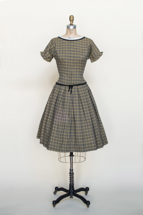 A 1950s plaid day dress from Austin vintage clothing shop, Dalena Vintage.