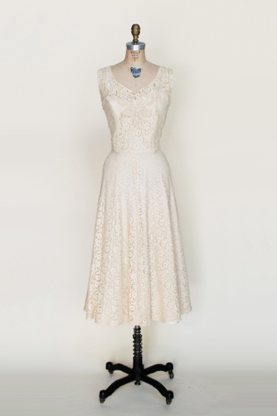 1950s lace wedding dress from Dalena's Attic
