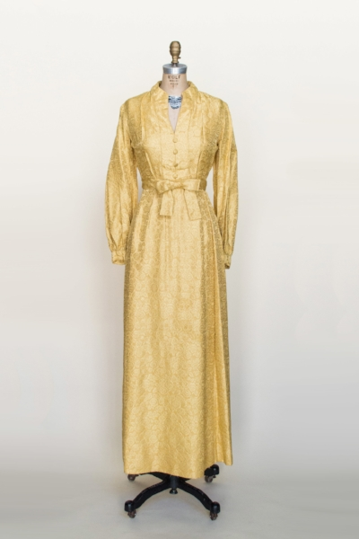 Vintage gold maxi dress from Dalena's Attic.