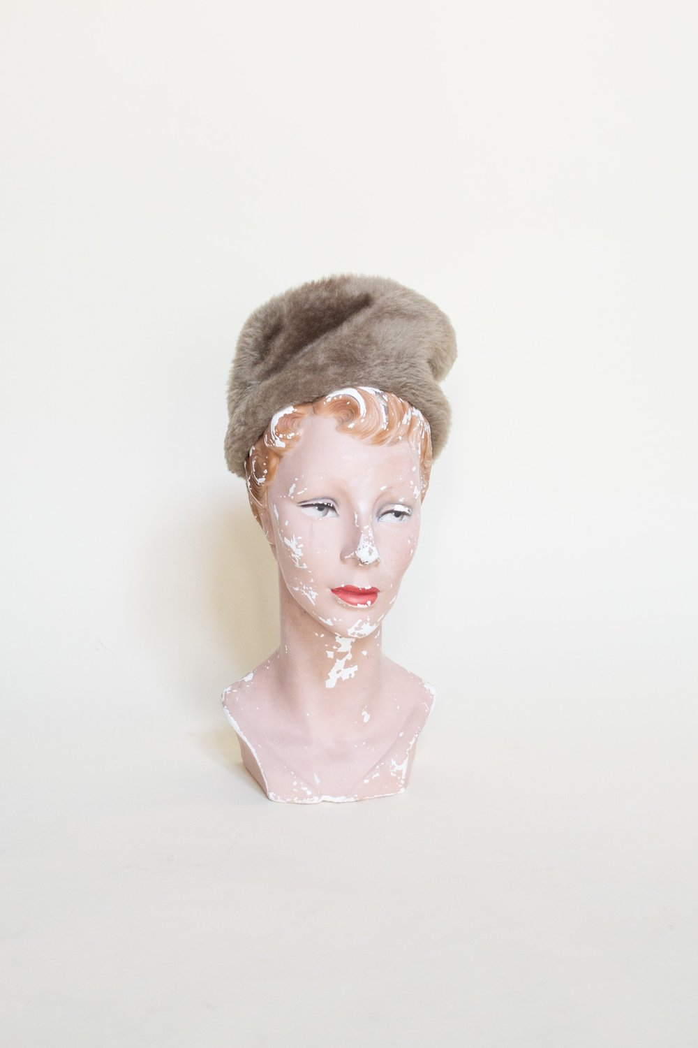 Vintage faux fur hat from Dalena's Attic.