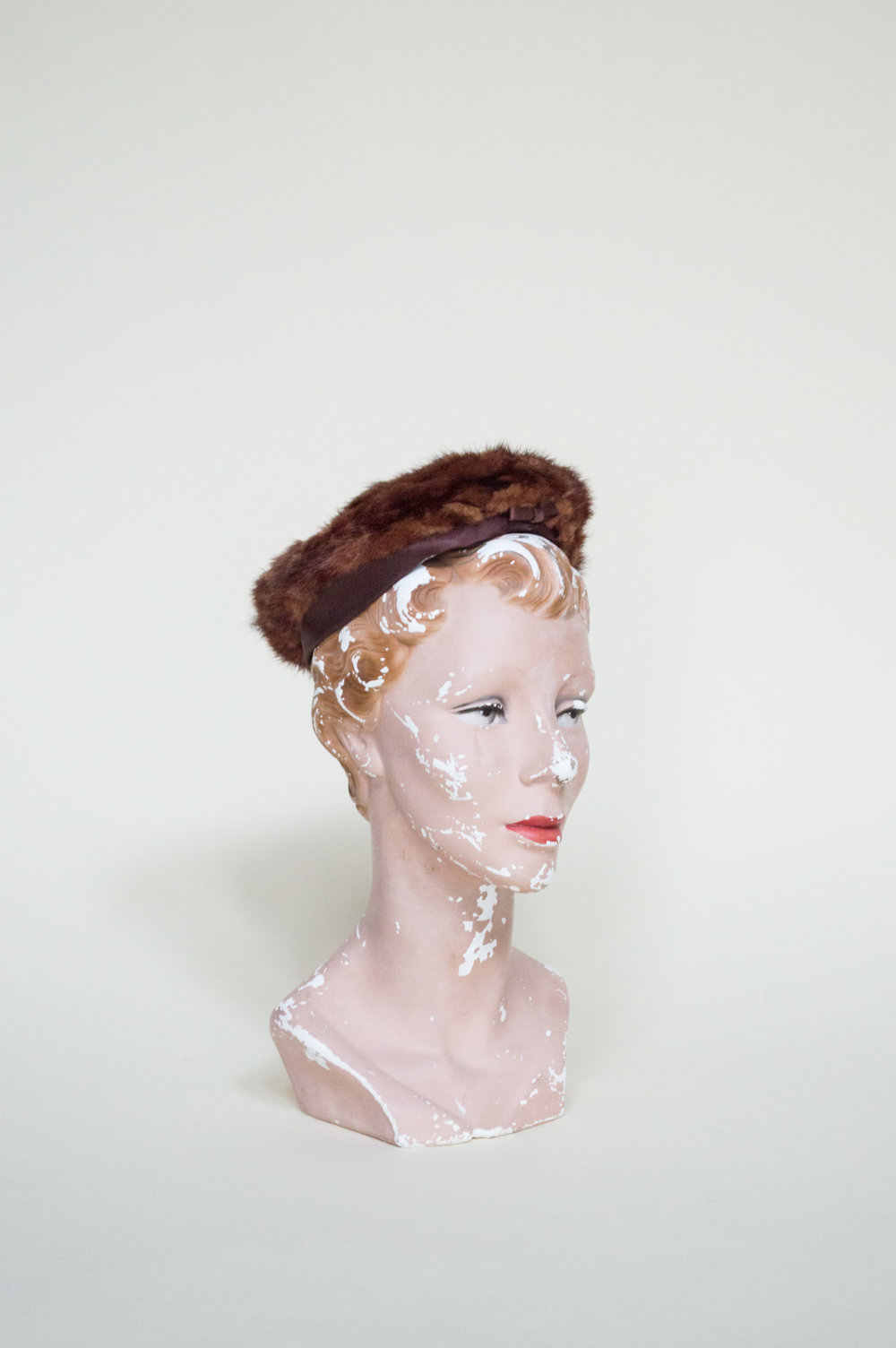 Vintage fur trimmed hat from Dalena Vintage