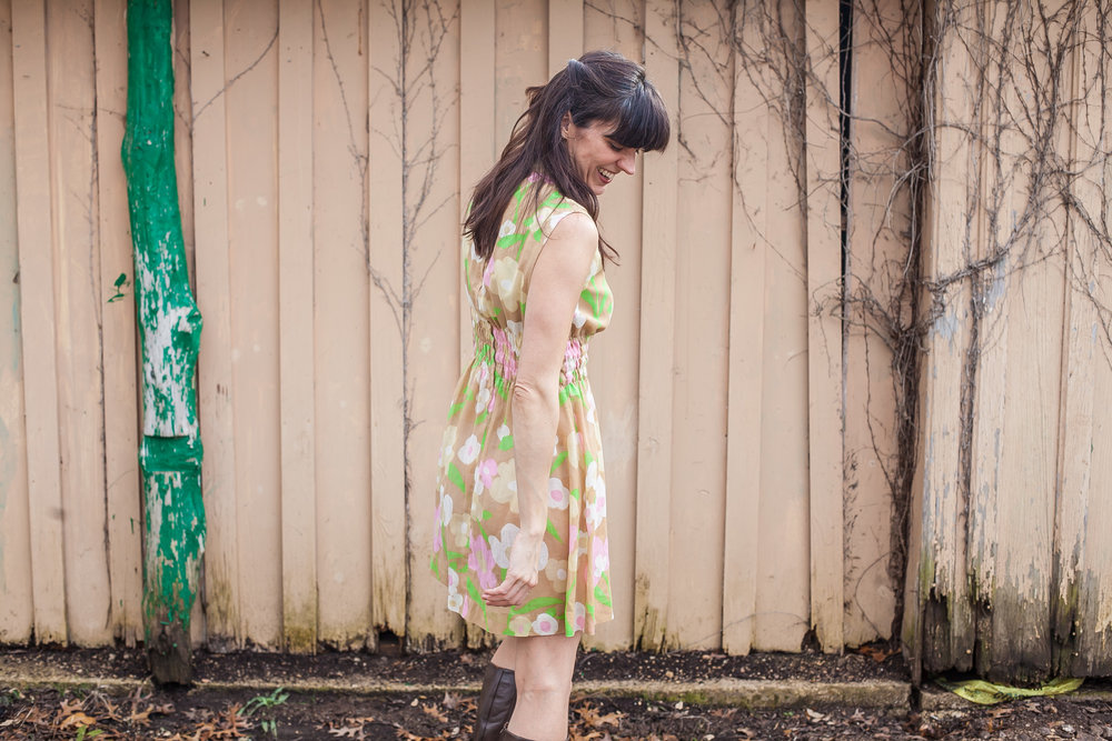 Leslie of Dalena Vintage in a 1960s mini dress from her Austin-based vintage clothing shop.