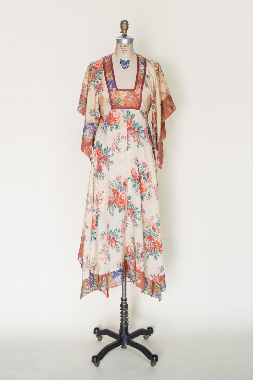 1970s bohemian style dress from Dalena Vintage
