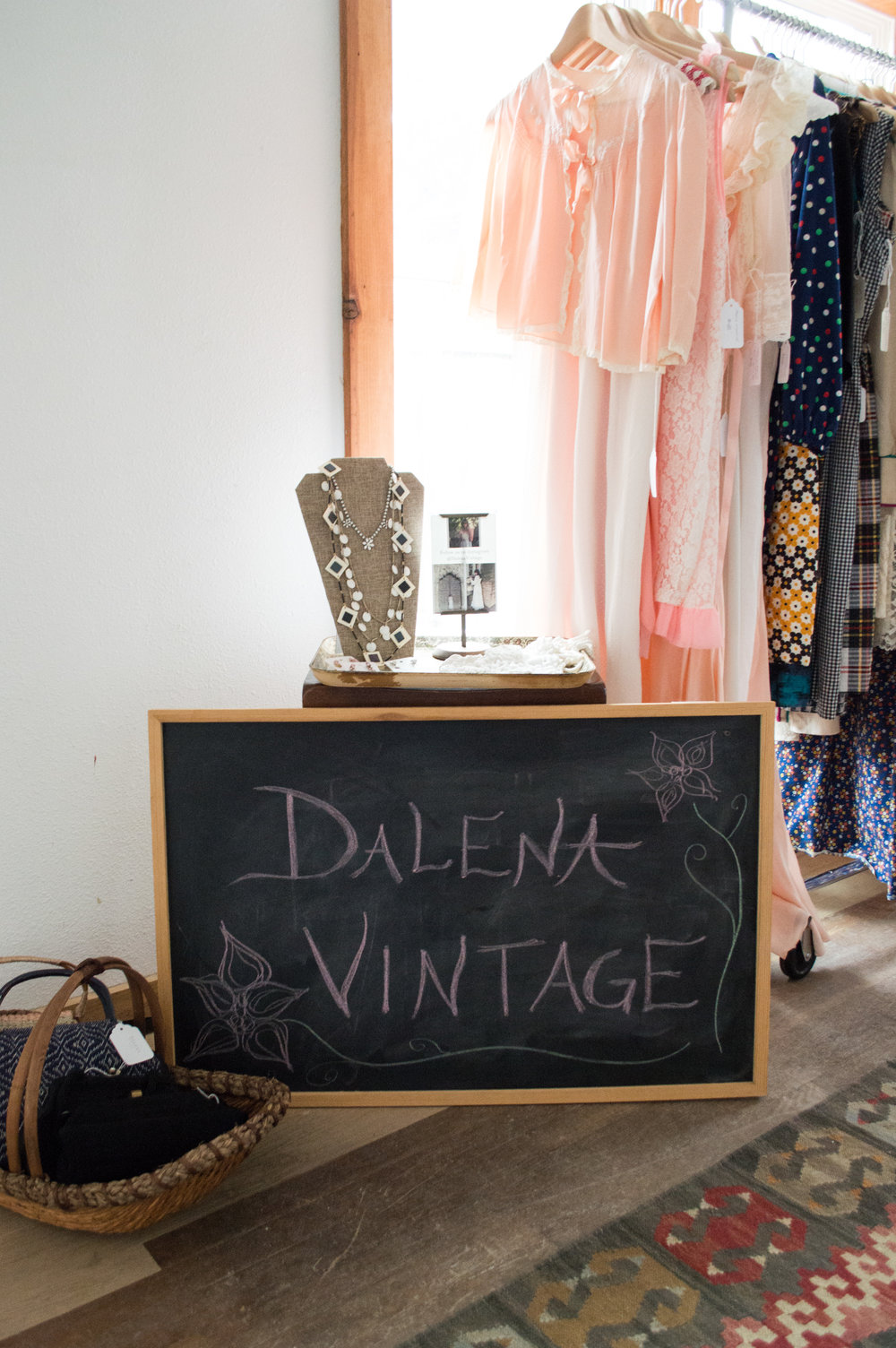 Galentine's Day Vintage Party pop-up up display from Austin vintage clothing shop, Dalena Vintage.