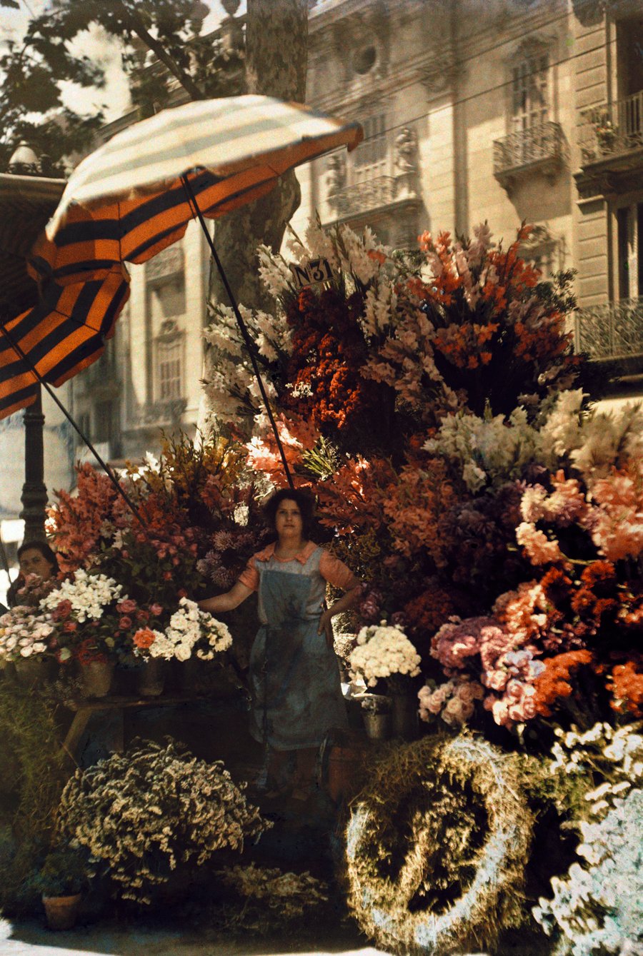 Oh to be in 1920s Europe! An aproned woman in front of her flower stand in Barcelona, Spain, March 1929. PHOTOGRAPH BY JULES GERVAIS COURTELLEMONT, NATIONAL GEOGRAPHIC