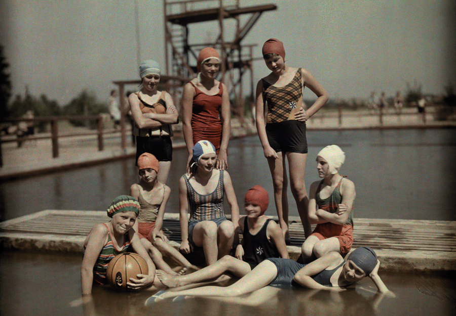 Teenage girls in bathing suits and caps on a dock in Germany, March 1928. PHOTOGRAPH BY WILHELM TOBIEN, NATIONAL GEOGRAPHIC