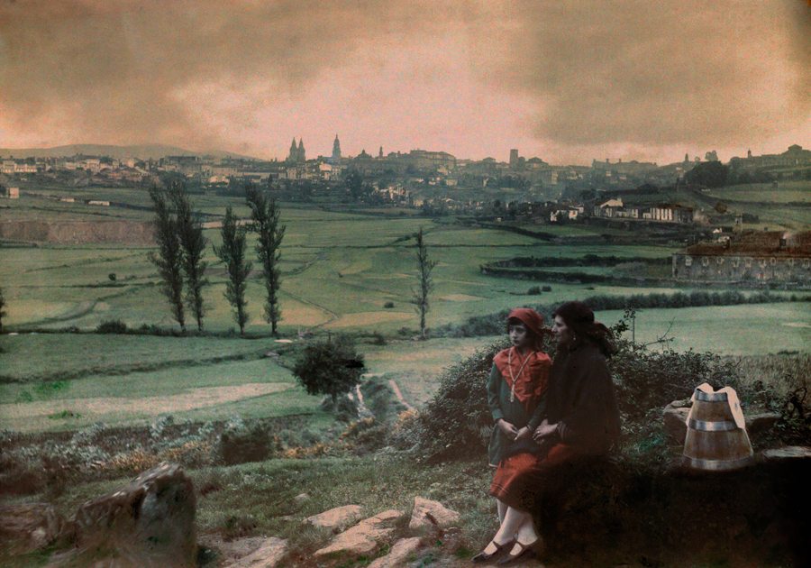 These European landscapes are killing me! A view of the city as seen from the fountain of Santa Maria in Santiago de Compostela, Spain, 1929. PHOTOGRAPH BY JULES GERVAIS COURTELLEMONT, NATIONAL GEOGRAPHIC