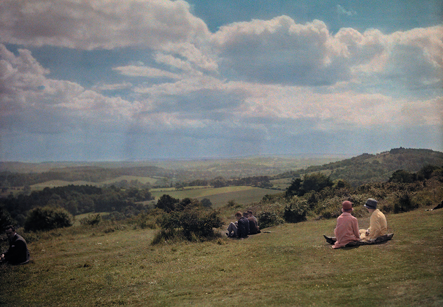 Locals enjoy the view of the Surrey Hills in England, 1928. PHOTOGRAPH BY CLIFTON R. ADAMS, NATIONAL GEOGRAPHIC