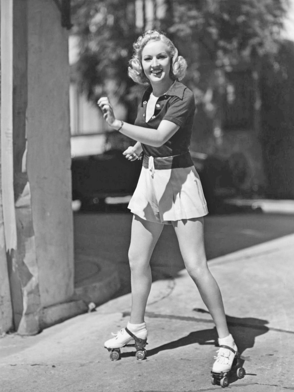 Betty Grable on roller skates circa 1937
