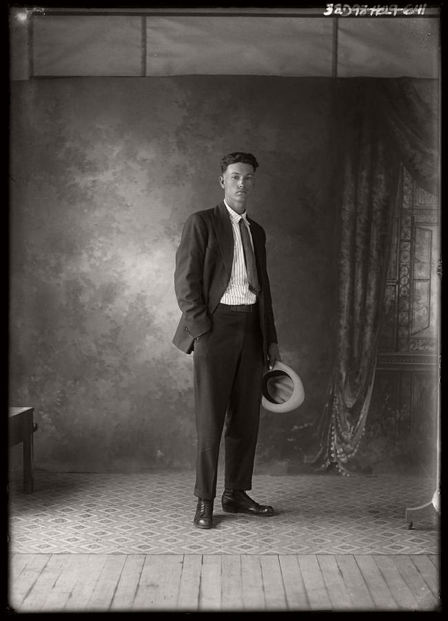 Vintage portrait of a Texas man by photographer Julius Born.