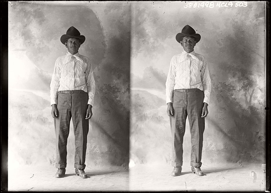 Vintage portrait of a man in Texas by photographer Julius Born.