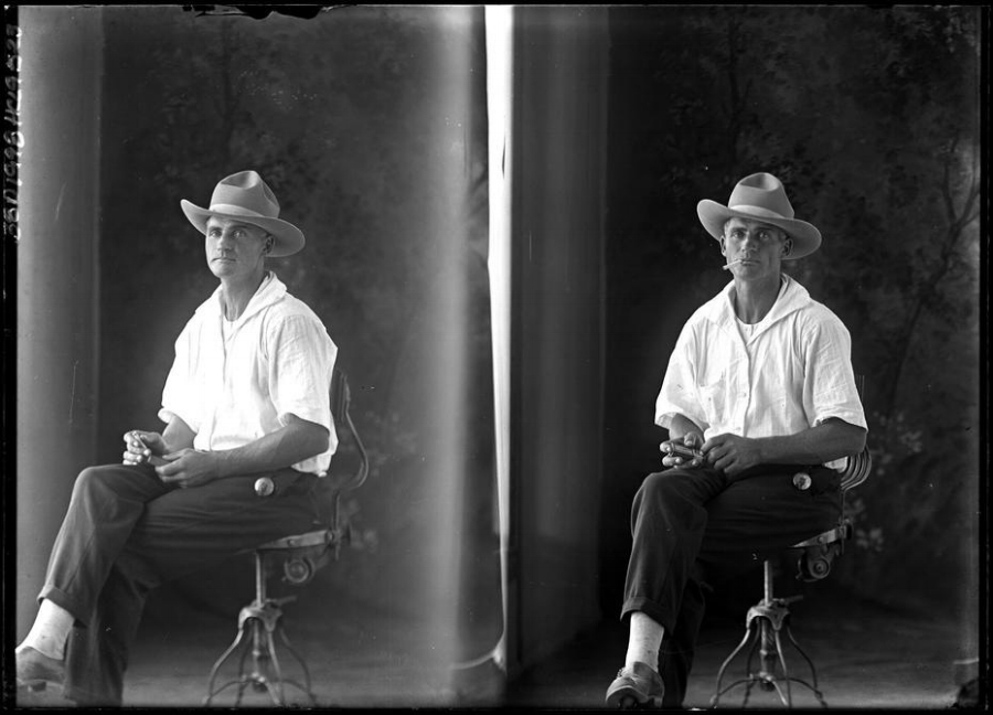 Vintage portrait of a man in the Texas panhandle. Photo by Julius Born.