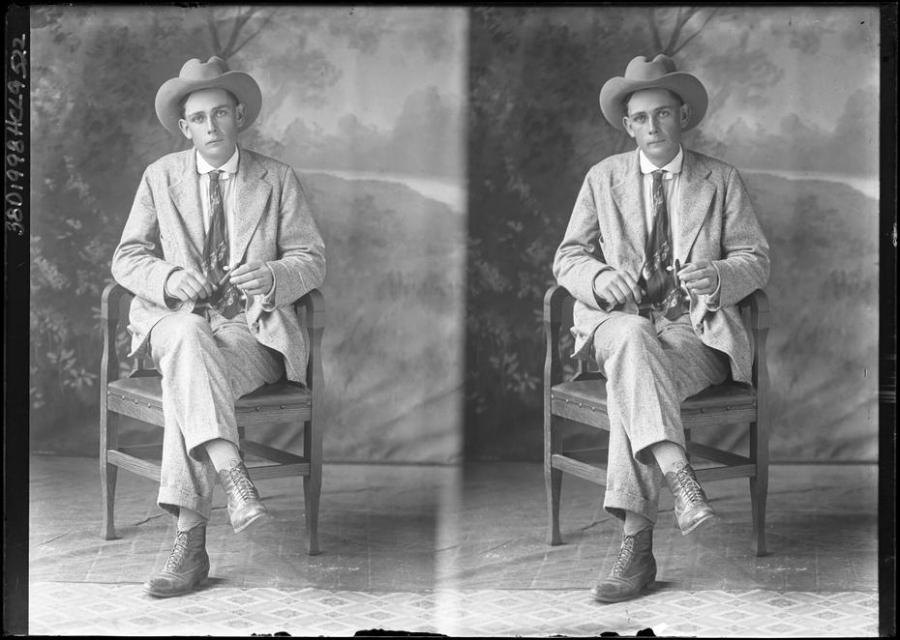 Vintage portrait of a man taken in the Texas panhandle. Photo by Julius Born.