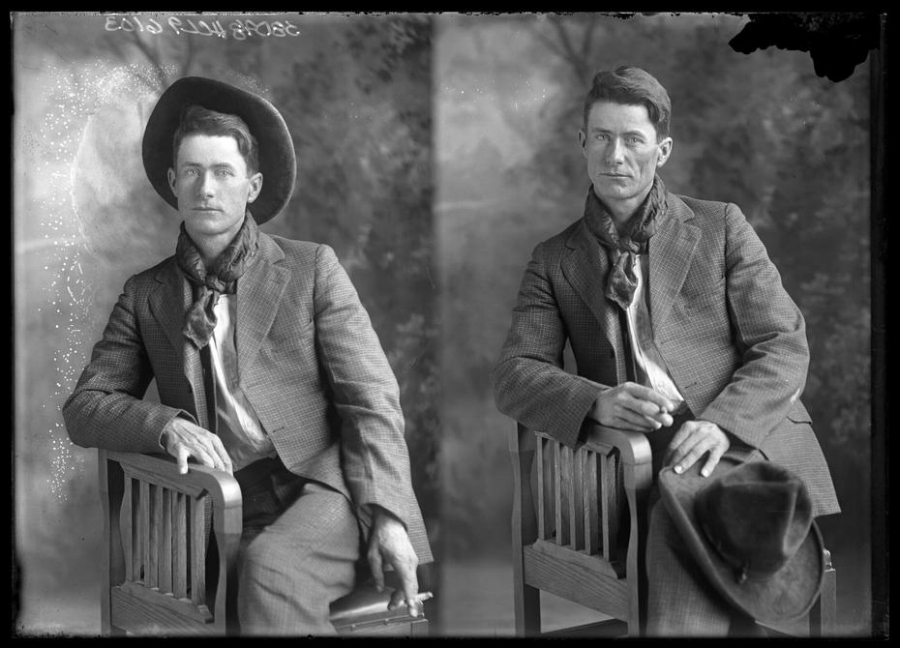 Vintage portrait of a man taken in the Texas Panhandle. Photo by Texas photographer Julius Born.