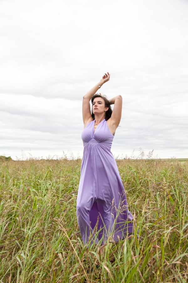 Lavender fields forever. Andrea in a 1970's maxi dress from Dalena Vintage.