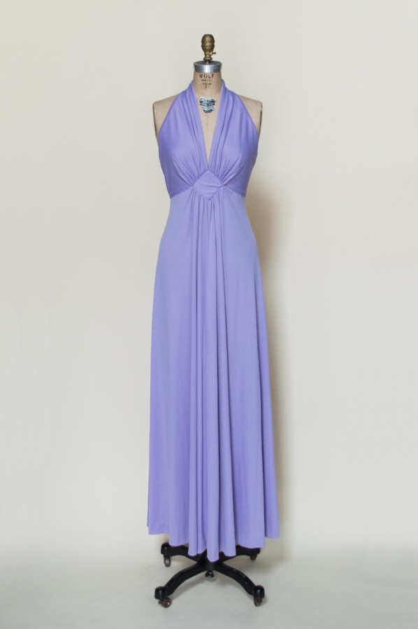 1970s lavender maxi dress from Dalena Vintage