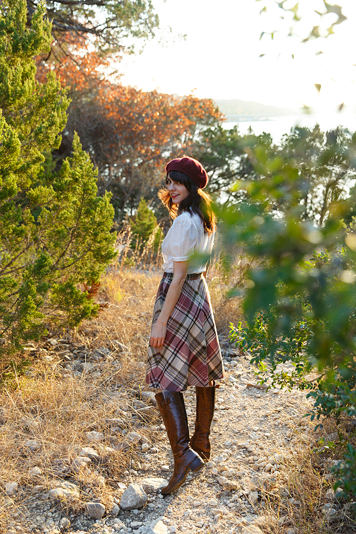 Leslie of Dalena Vintage in a 1970's plaid skirt from her shop.