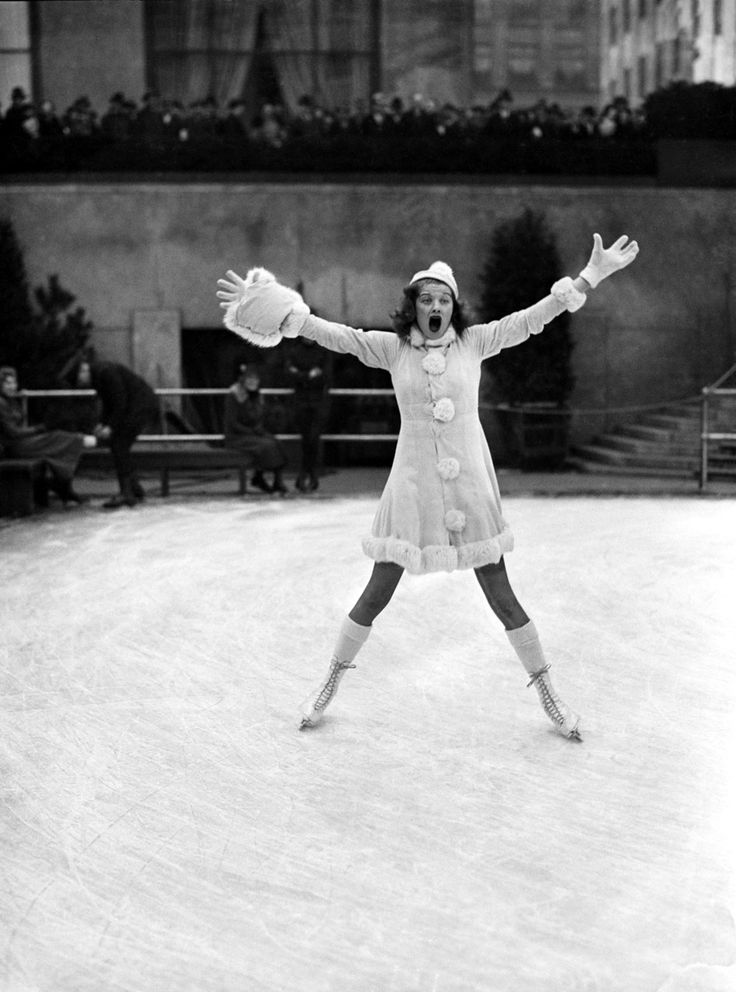 Lucille Ball in the most adorable ice skating outfit I've ever seen. I want it all!