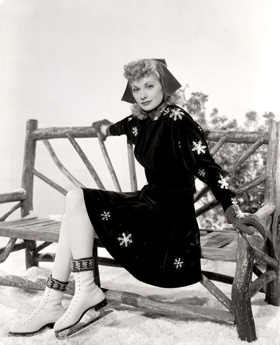 Lucille Ball in a darling ice skating outfit. I love her pilgrim-style hat!
