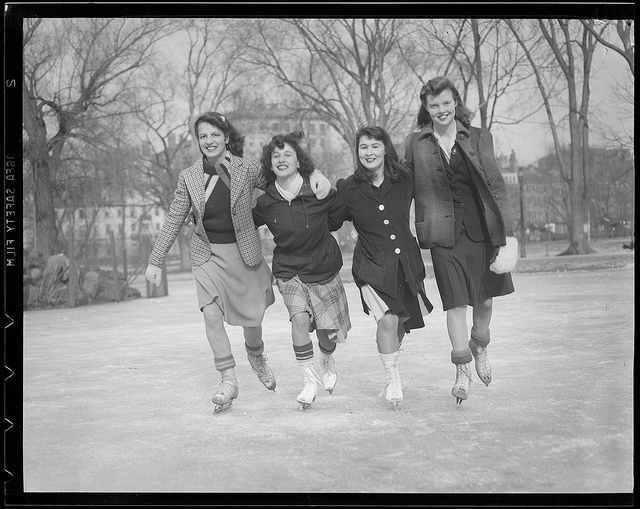 Girlfriends ice skating in the 1940s. Don't you just love their outfits?