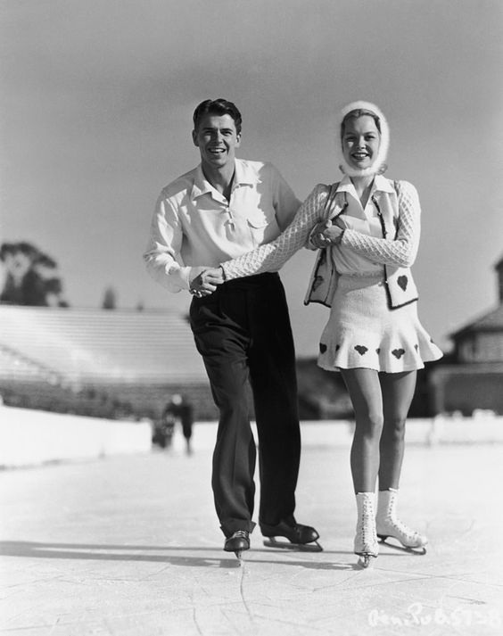Ronald Reagan and Jane Wyman ice skating in the 1940s.