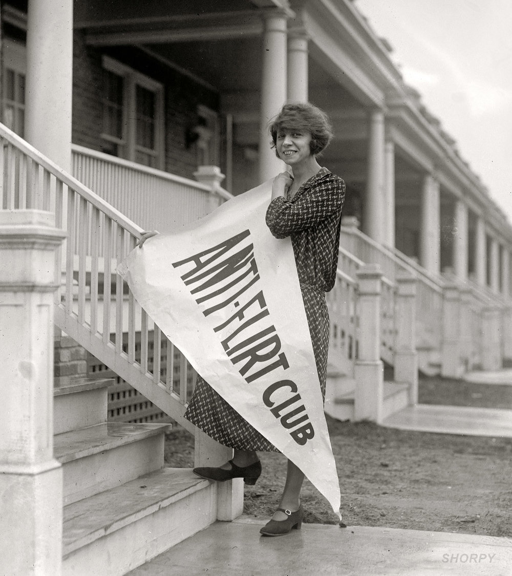 The Anti-Flirt Club was founded in 1923 by Miss Alice Reighly.