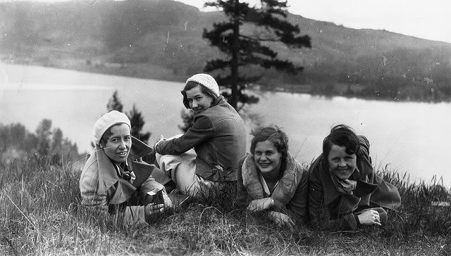 Vintage Camping Photos /// Group of girls posing lakeside, enjoying nature.