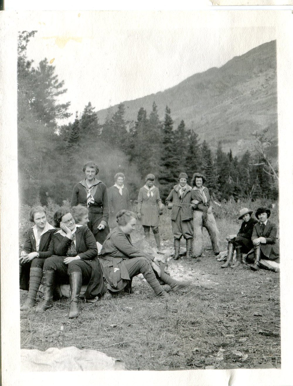 Vintage Camping Photos /// Vintage photo of a group of women hiking or camping in the 1920s, possibly earlier.