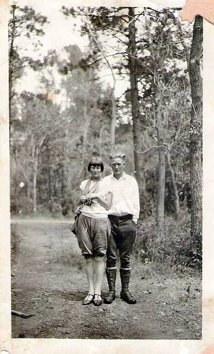 Vintage Camping Photos /// Vintage photo of a couple hiking in the 1920s.