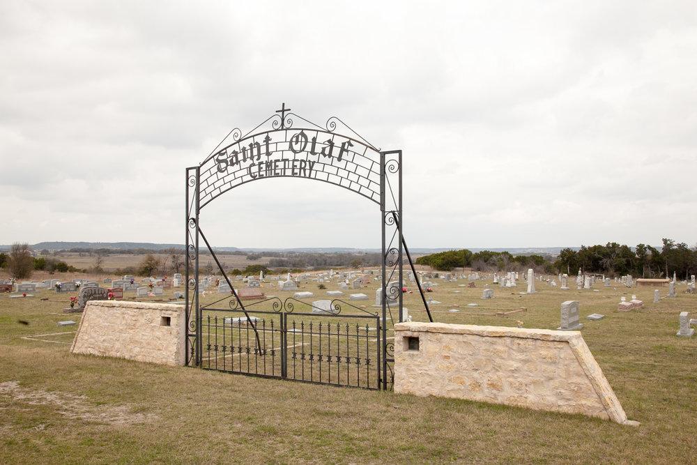 Saint Olaf Cemetery at the Rock Church in Cranfills Gap, Texas