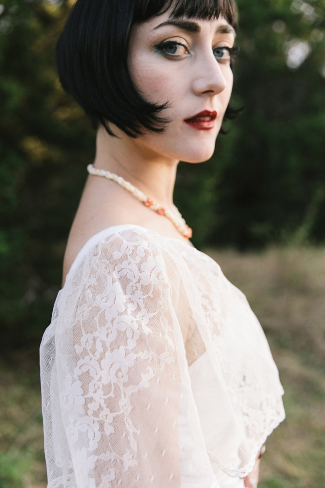Lace cape on a 1970s wedding dress from Dalena Vintage. Photo by Nicole Mlakar.