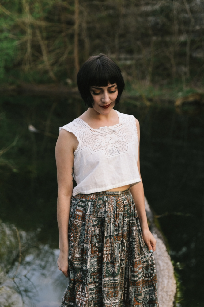 Edwardian blouse and mid century skirt from Dalena Vintage. Photo by Nicole Mlakar.